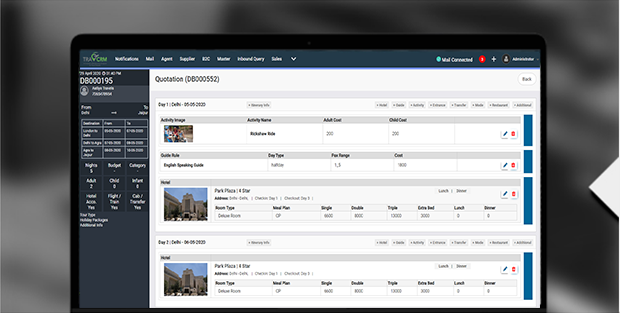 Ttravel crm Quotation Builder